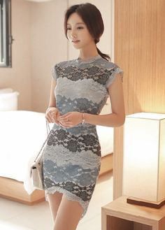 Drape in Vogue Gray Lace Short Dress For Women @Looksgud.in #DrapeinVogue #Gray #ShortDress