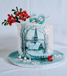 Winter nostalgia - cake by alenascakes Christmas Themed Cake, Christmas Desserts, Christmas Cakes, Cow Cakes, Cupcake Cakes, New Year's Cake, Fantasy Cake, Hand Painted Cakes, Holiday Cakes