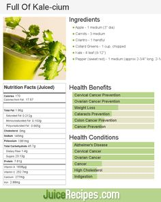 Kale is rich in vitamins and minerals such as calcium, potassium and iron. This makes it perfect for juicing!
