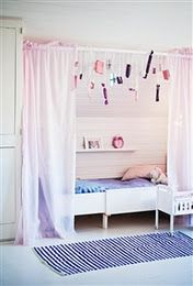 Spend the days playing behind these sheer pink curtains. Via Hus & Hem. Curtains Around Bed, Pink Curtains, Bed Curtains, Spring Curtain Rod, Bed Nook, Build A Closet, Little Girl Rooms, Fashion Room, Kid Spaces