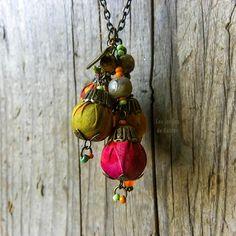 Fabric necklace bohemian colorful czech by LesJardinsdeKahlan