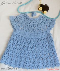 """Мини-платье для малышки """"275 синих цветочков"""" Crochet Girls, Crochet For Kids, Crochet Top, Vestidos Bebe Crochet, Mini Vestidos, Rubrics, Tween, Girls Dresses, Children"""