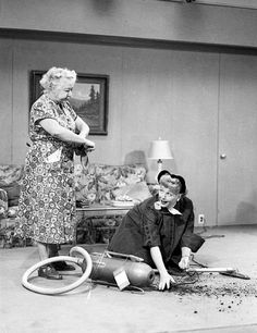 """It doesn't look like Lucy's Handy Dandy vacuum cleaner she's trying to sell is handy on """"I Love Lucy""""."""
