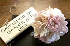 Handmade bridal bouquet, Rustic chic weddings, Fabric flower bouquet, Cotton magnolias, Lace bouquet. £150.00, via Etsy.