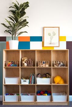 Complete with Rainbow Stripes, Vintage Wooden Play Furniture, and Easy Art! Diy Home Furniture, Furniture Makeover, Simple Art, Easy Art, Bedroom For Girls Kids, Kids Rooms, Small Bathroom Paint, Playroom Design, Playroom Decor