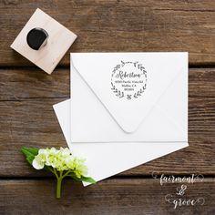 Monogram Address Stamp Calligraphy Stamp by fairmontandgrove