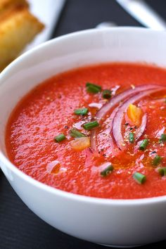 Fantastic Tomato and Strawberry Gazpacho recipe from Eat Well 101 - actually just a hint of sweet. You can double the strawberry if you want to taste it more.