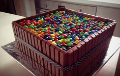 kit kat cake | Rainbow Kit Kat & M&Ms Cake with Nutella Fillings | cocosya