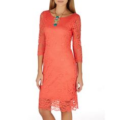 Scolloped Lace Dress Coral