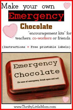 Emergency Chocolate Encouragement kit instructions + free printable labels