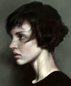 """Short Hair"" - Mohamed Gambouz {figurative realism art female head profile woman face portrait digital painting #loveart}"
