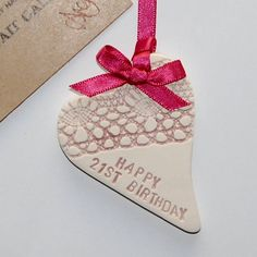 Happy 21st or 18th Birthday ceramic love heart gift by TaitGallery, £7.50