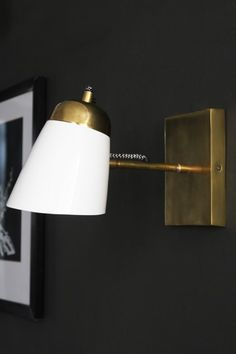 The Mortimore Wall Light - Antique Brass & Gloss White from Rockett St George