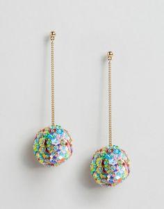 ASOS   ASOS Sequin Flower Pom Drop Earrings Gold-tone finish Drop design Sequin embellished pendants Bullet clutch back 40% Plastic, 40% Polyester, 20% Steel