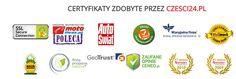 Oto tylko kilka kilkanaście certyfikatów jakie posiada nasz sklep Czesci24.pl