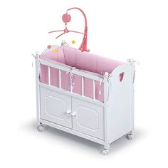 Natasha have to have it. Badger Basket Pink Gingham Doll Crib and Bed $48.99