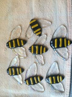Fused glass bumble bees
