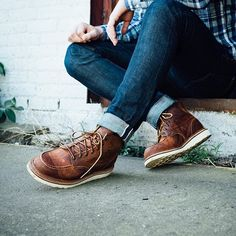 Essentially a premium Classic Moc, the 1907 has all the iconic features of a Red Wing Heritage Moc Toe with the added features of a split-reverse welt for additional water resistance and a removable leather footbed accommodated by the last. Sneaker Outfits, Converse Sneaker, Puma Sneaker, Red Wing Shoes, Red Wing Moc Toe, Botas Red Wing, Wedge Boots, Shoe Boots, Moc Toe Boots Men
