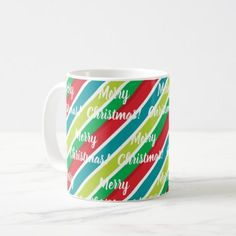 Christmas Colors Diagonal Stripes Pattern Coffee Mug - holidays diy custom design cyo holiday family