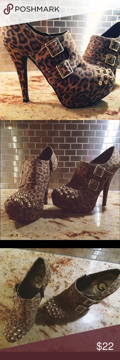 G by Guess Suede leopard brass spike heels 7 1/2 G by Guess suede with brass spikes, only wore in store never out . No damage or imperfections Guess Shoes