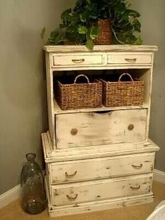 Two old dressers stacked on top of each other make one awesome repurposed piece! Distressed Furniture, Refurbished Furniture, Repurposed Furniture, Furniture Makeover, Painted Furniture, Reclaimed Furniture, Furniture Projects, Furniture Making, Diy Furniture
