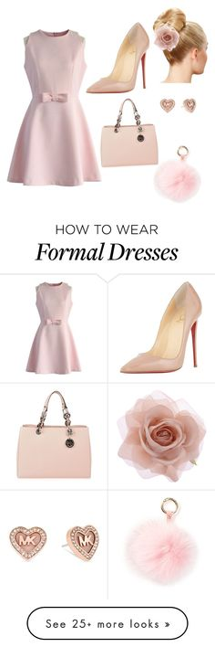 """""""Formal pink"""" by michali-i on Polyvore featuring Chicwish, Christian Louboutin, MICHAEL Michael Kors, Accessorize, Michael Kors, RAJ, women's clothing, women, female and woman"""