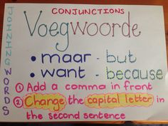 Anchor chart for Afrikaans FAL: Conjunctions Afrikaans, Anchor Charts, Sentences, Make It Simple, School Stuff, Teaching Ideas, Homeschool, Lettering, Education