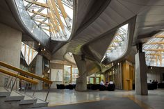 Image 8 of 14 from gallery of AD Classics: Scottish Parliament Building / Enric Miralles. Photograph by Scottish Parliamentary Corporate Body - 2012 Beautiful Architecture, Contemporary Architecture, Architecture Student, Architecture Design, Scottish Parliament, Building Structure, Stirling, Town And Country, Brutalist