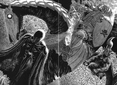 """""""berserk"""" by Kentaro Miura. Crazy amount of detail, lots of crosshatching and black. The direction of the line is super important to the composition in this work. Creatures some really amazing texture and movement"""