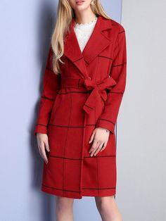 Wool Blend Checkered Elegant Lapel Coat with Belt