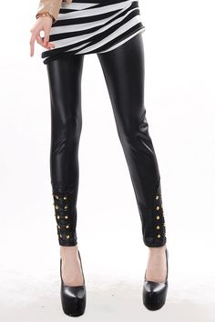 Black Wet-look Legging with Bling Rivets
