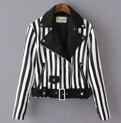 autumn women Leather black+white Moto biker stripe jackets coat outwear trench