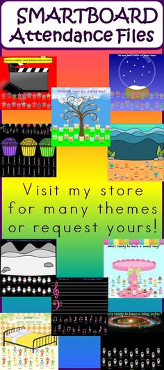 I love making #SMARTboard attendance files! Give your morning routine a fun kick in the pants with SMARTboard attendance.  Visit my store for a large variety or request your class theme!  (Works ONLY with SMARTboards, not other interactive whiteboards.)