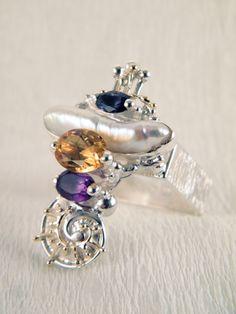 Gregory Pyra Piro #Bijoux d'Auteur, Bijoux Fait Main, Bijoux en #Paris, #Argent Massif et Or #Bague Carré 3012