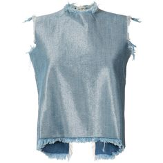 Marques'Almeida Denim Tank Top ($214) ❤ liked on Polyvore featuring tops, shirts, crop top, blue, cropped tops, blue crop top, blue shirt, denim top and denim shirts