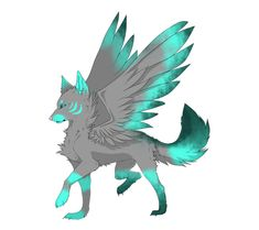 blue winged wolf adopt by accidentalanime on DeviantArt