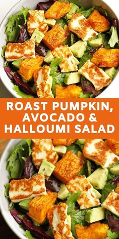 Pumpkin, Haloumi & Avocado Salad Gone are the days of bland and boring salads! This pumpkin, haloumi and avocado salad makes for a perfect weeknight dinner – minimal effort, maximum taste. Avocado Salad Recipes, Healthy Salad Recipes, Veggie Recipes, Healthy Snacks, Vegetarian Recipes, Dinner Recipes, Healthy Eating, Cooking Recipes, Detox Recipes
