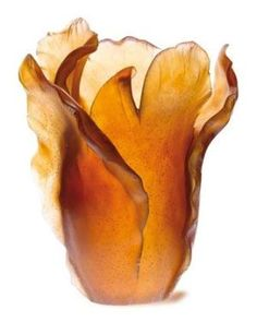 View this item and discover similar for sale at - Daum Amber leaded art glass crystal tulip vase, large. Made at the Daum Studio in Nancy, France. Daum was founded Color Splash, Art Nouveau, Art Deco, Crushed Glass, Amber Jewelry, Amber Earrings, Amber Glass, Handmade Home Decor, Colored Glass
