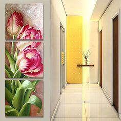 Print canvas tulip painting triptych poster flowers wall pictures for living room Modular pictures nordic wall art oil painting - TakoFashion - Women's Clothing & Fashion online shop Tulip Painting, Oil Painting On Canvas, Painting Frames, Canvas Pictures, Print Pictures, Wall Pictures, Tulips Flowers, Wall Decor, Wall Art