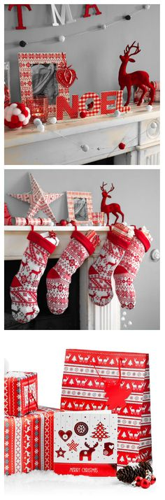 Nordic/Scandinavian look and feel Christmas decorations and wrapping paper to finish the look. Click on the image to see most of the Nordic range at Poundland