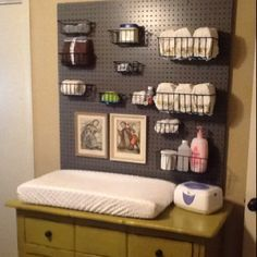 My daughter insisted on using peg board in her son's  nursery. I was dubious when she told me, but now I like it!