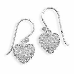 Beautiful Ladies Sterling Silver Crystal Heart Dangle Earrings