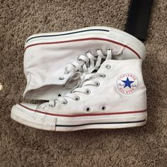 White converse high tops Great condition! Have a lot of life left. No trades Converse Shoes Sneakers