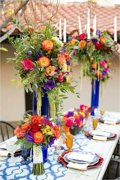 Top 9 Elegant Spring & Summer Wedding Color Palettes for blue and orange wedding centerpieces with flowers and greenery, diy wedding table decorations, wedding ceremony ideas Wedding Colors, Wedding Flowers, Orange Wedding, Wedding Dresses, Summer Wedding, Dream Wedding, August Wedding, Hacienda Wedding, Spanish Wedding