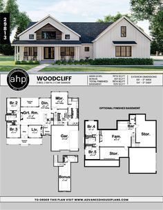farmhouse with modern flair History Modern Farmhouse Plan Woodcliff The Woodcliff plan gives the traditional country house styl The Plan, How To Plan, Modern Farmhouse Plans, Farmhouse Style, Farmhouse House Plans, Farmhouse Layout, Farmhouse Front, Farmhouse Decor, House Floor Plans