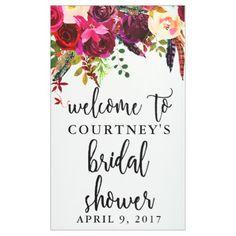 Bridal Shower Floral Wreath Welcome Banner