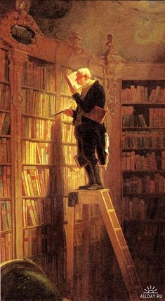 The Bookworm (German: Der Bücherwurm) is an 1850 oil-on-canvas painting by the German painter and poet Carl Spitzweg. The picture is typical of Spitzweg's humorous, anecdotal style and it is characteristic of Biedermeier art in general. (from Wikipedia) Carl Spitzweg, Les Rats, Illustration, Oil Painting Reproductions, Love Art, Art History, Book Worms, The Book, Art Gallery