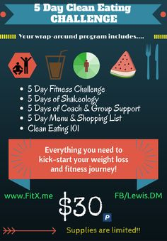 Online 5 day Cleaner Eating Fitness challenge - complete with shopping list, daily recipes, daily workout, personal support, one of your meals a day already supplied with the *healthiest meal of the day*, and clean eating tips and help - along with a *private* daily accountability group to help you FALL into FABULOUS this Fall!!!??? http://donnalewisfitness.com/five-day-clean-eating/