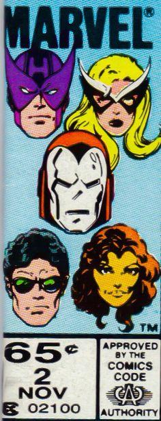 Marvel corner box art - West Coast Avengers (Hawkeye, Mockingbird, Iron Man (silver armor), Wonder Man and Tigra)