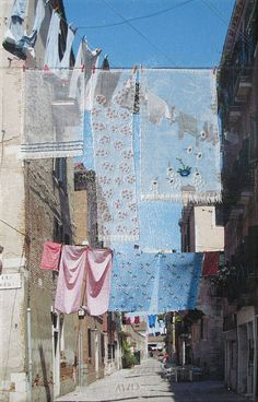 "huariqueje: "" Coloured Laundry , Venice - Annette van Waaijen Dutch,, b. Photograph on canvas with textiles and embroidery , 40 x 25 cm "" Mood Images, Venice, Colours, Canvas, Gallery, Outdoor Decor, Artwork, Artist, Dutch"